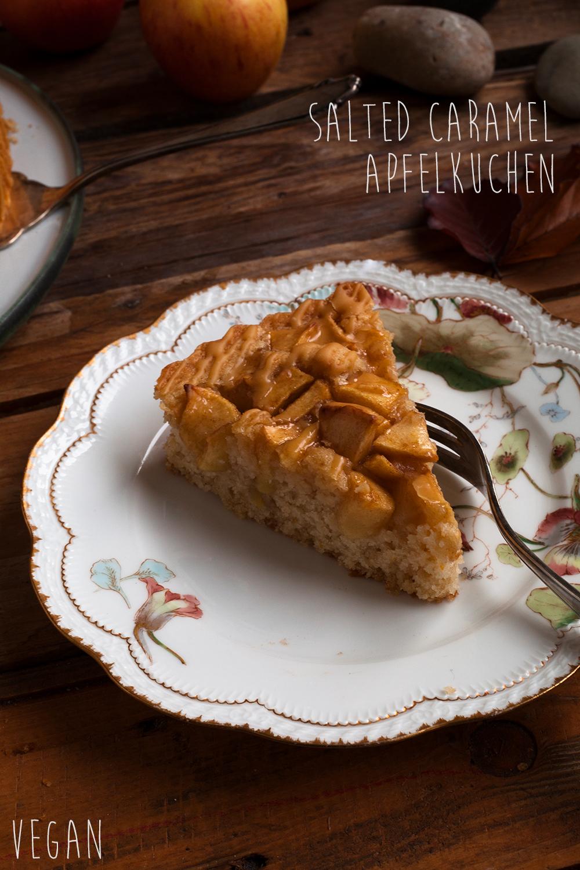 Veganer Apfelkuchen mit Karamell