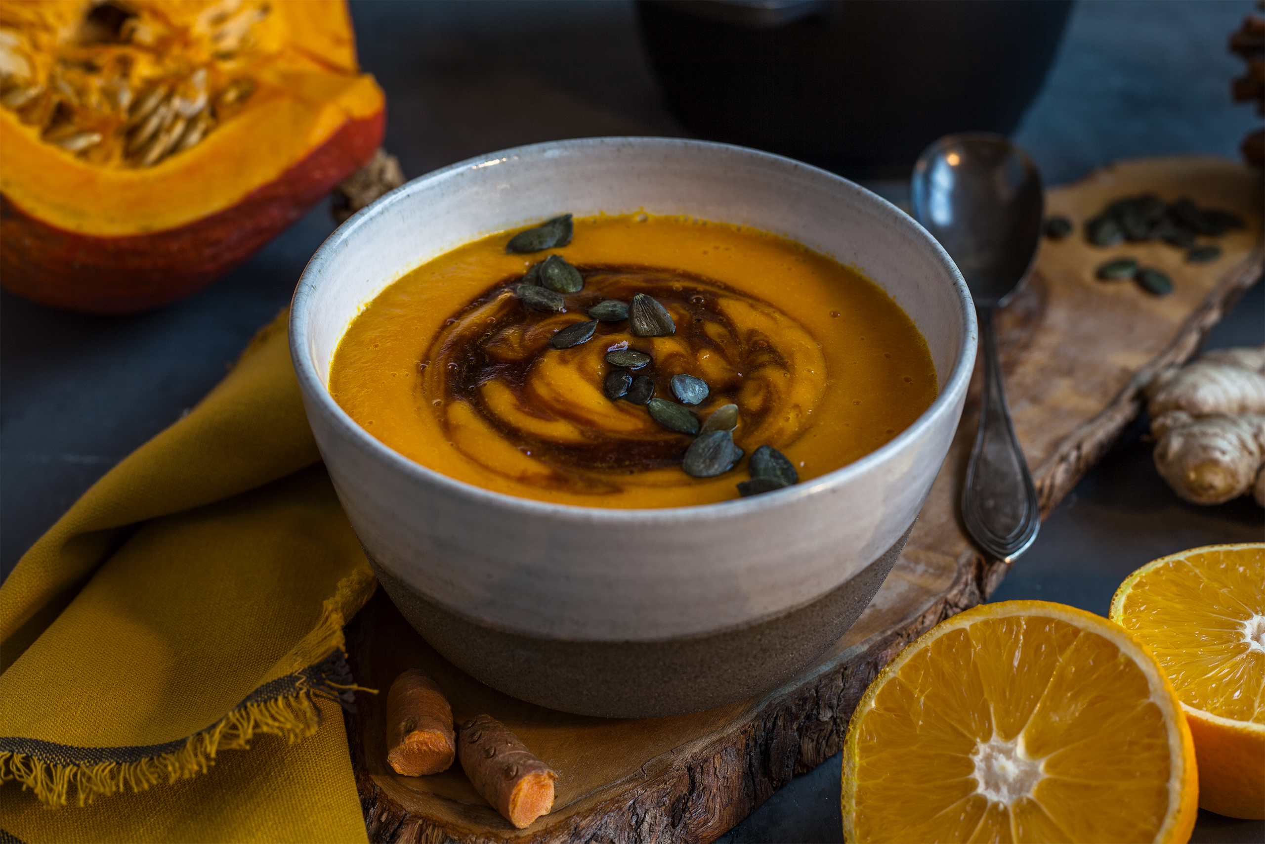 Kürbis orangen suppe vegan