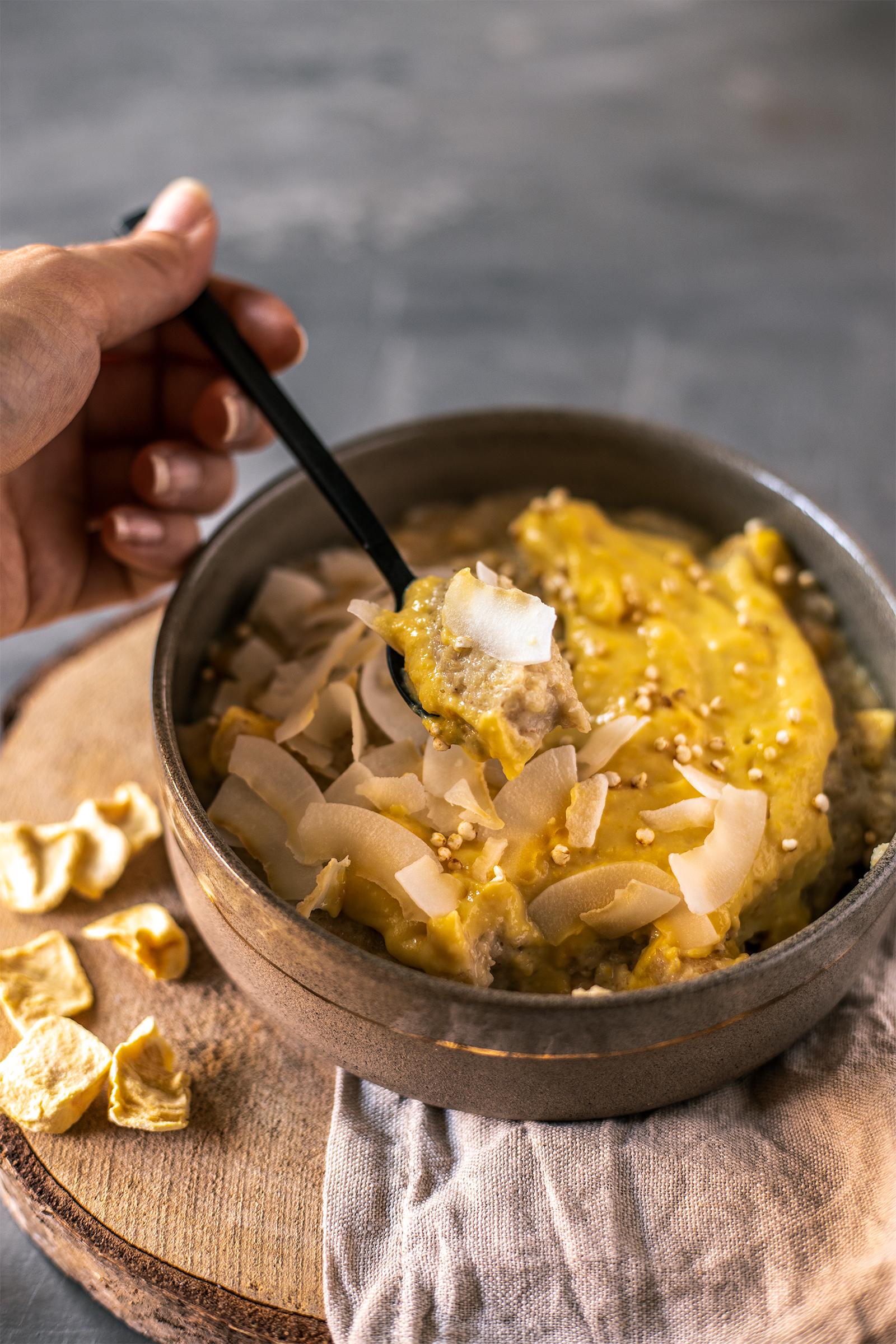 Haferflocken griess Porridge vegan rezept