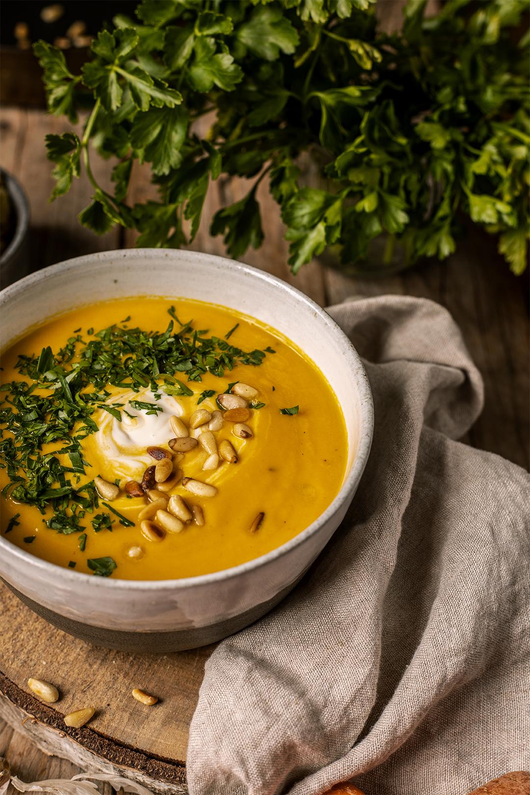 Blumenkohl karottensuppe vegan rezept