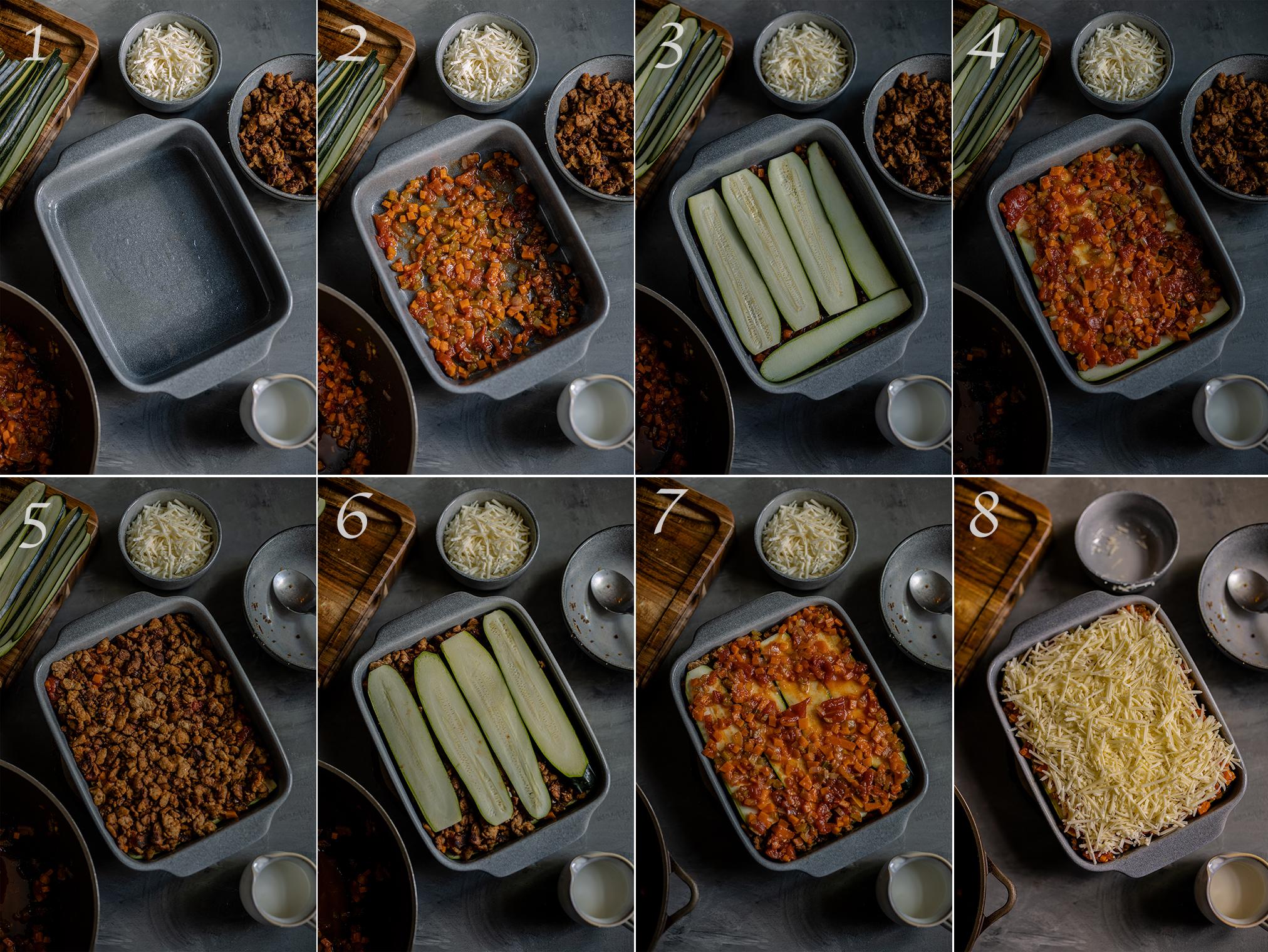 Zucchini Lasagne schichten