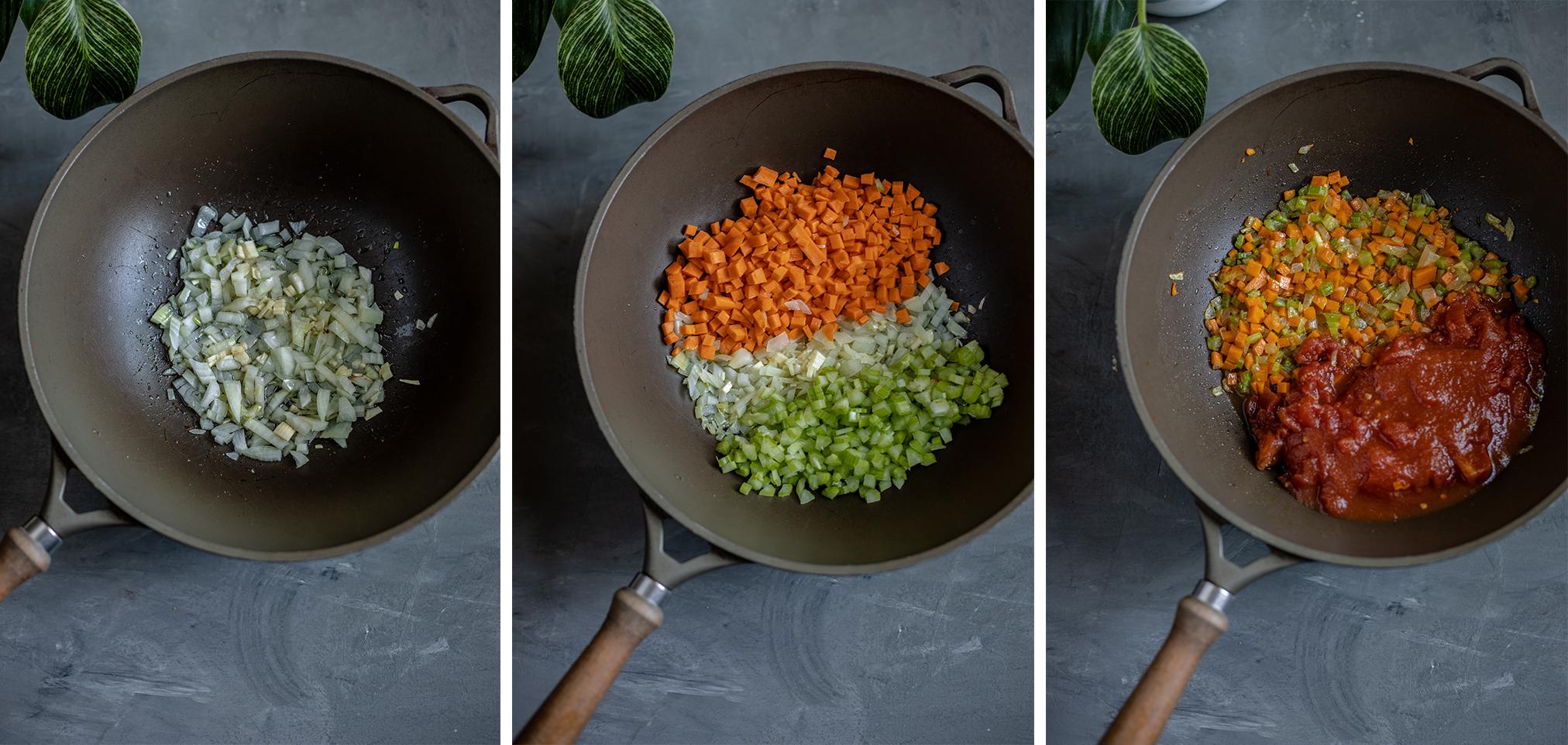vegane Lasagne Schritt schichten