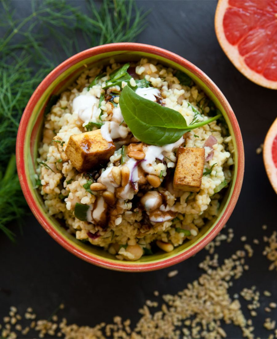 Bulgur salat mit Kichererbsen-vegan